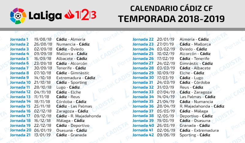 As Calendario Liga 123.Conoce El Calendario Del Cadiz Cf 2018 2019 En Laliga 1 2 3
